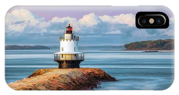 IPhone Case featuring the painting Spring Point Ledge Lighthouse by Christopher Arndt
