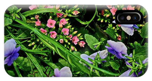 IPhone Case featuring the photograph Spring Show 18 Pink Kalanchoe And Viola by Janis Nussbaum Senungetuk