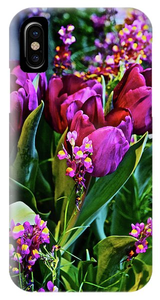 IPhone Case featuring the photograph Spring Show 18 Red Violet Tulips With Toadflax 1 by Janis Nussbaum Senungetuk