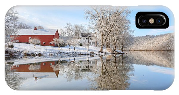 New England Barn iPhone Case - Spring Snow 2016 by Bill Wakeley