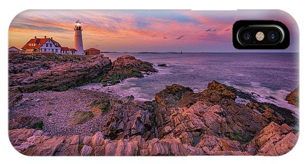 Navigation iPhone Case - Spring Sunset At Portland Head Lighthouse by Rick Berk