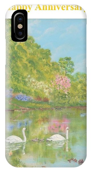 Spring Swans Anniversary Card Phone Case by David Capon