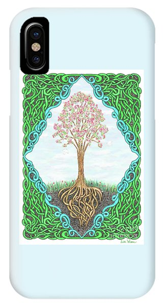 IPhone Case featuring the drawing Spring Tree With Knotted Roots And Knotted Border by Lise Winne