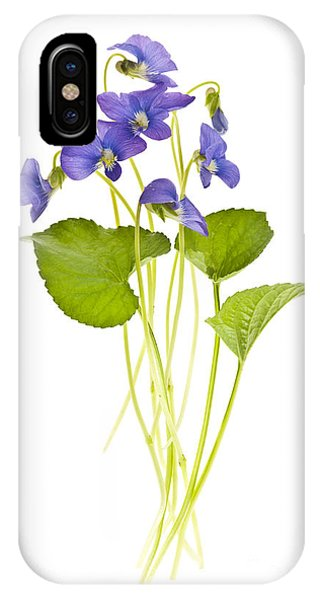 Wild Violet iPhone Case - Spring Violets On White by Elena Elisseeva