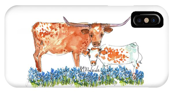 Cow iPhone X / XS Case - Springs Surprise Watercolor Painting By Kmcelwaine by Kathleen McElwaine