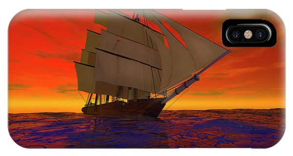 Schooner iPhone Case - Square-rigged Ship At Sunset by Carol and Mike Werner