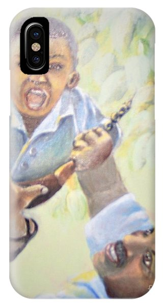 IPhone Case featuring the painting Squeals Of Joy by Saundra Johnson