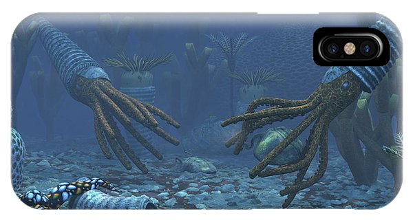 Sea Floor iPhone Case - Squid-like Orthoceratites Attempt by Walter Myers