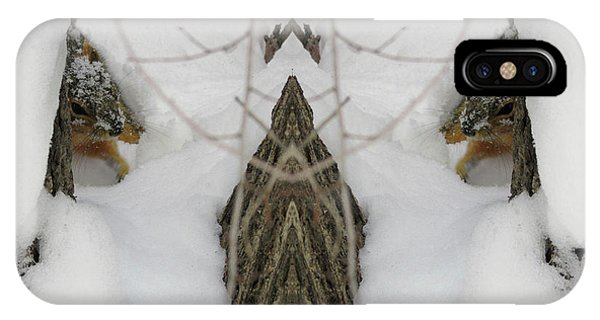 Squirrel Faces Peeking Out From A Snowy Den IPhone Case