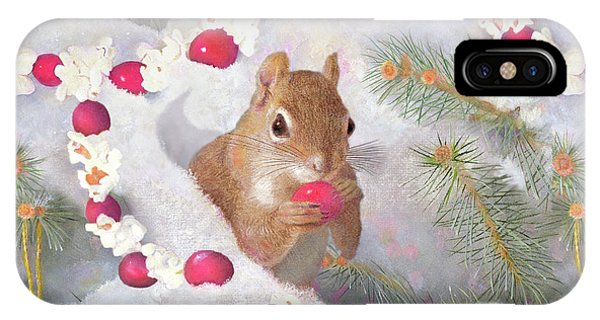 IPhone Case featuring the painting Squirrel In Snow With Cranberries by Nancy Lee Moran