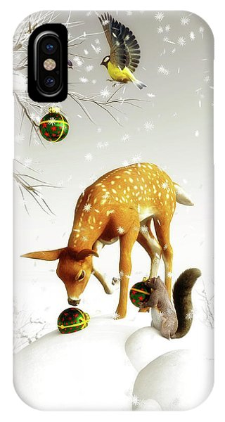 Squirrels And Deer Christmas Time IPhone Case