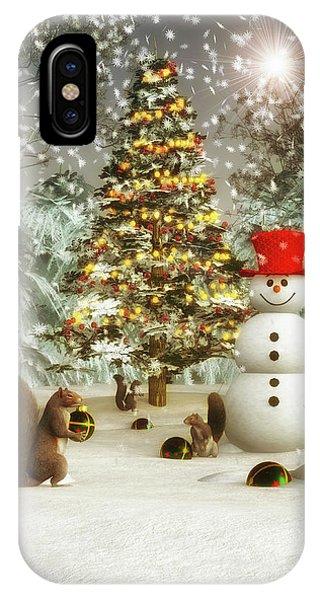 Squirrels Decorating Christmas IPhone Case