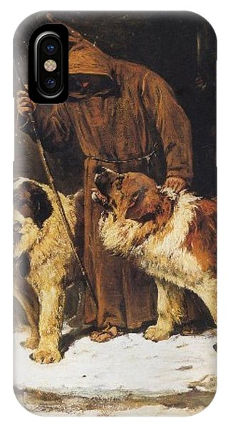IPhone Case featuring the painting St. Bernards To The Rescue by John Emms
