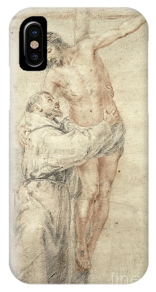 Crucifixion iPhone Case - St Francis Rejecting The World And Embracing Christ by Bartolome Esteban Murillo