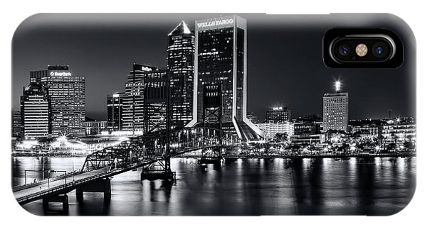 St Johns River Skyline By Night, Jacksonville, Florida In Black And White IPhone Case