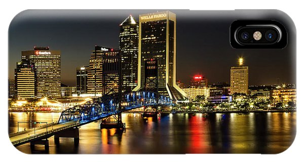 St Johns River Skyline By Night, Jacksonville, Florida IPhone Case
