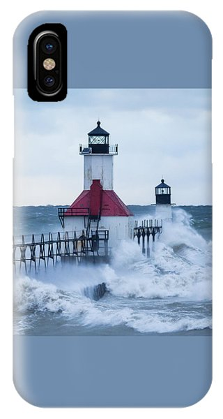 St. Joseph Lighthouse With Waves IPhone Case