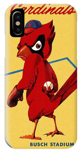 Iphone 4 iPhone Case - St. Louis Cardinals Vintage 1956 Program by John Farr