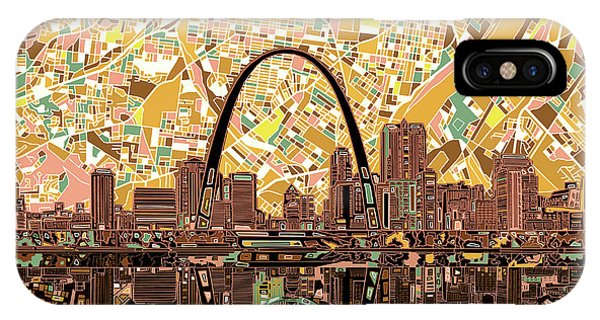 Abstract Digital iPhone Case - St Louis Skyline Abstract 11 by Bekim Art