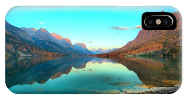 Rocky Mountain Np iPhone Case - St Mary Lake Clouds And Calm Water by Adam Jewell
