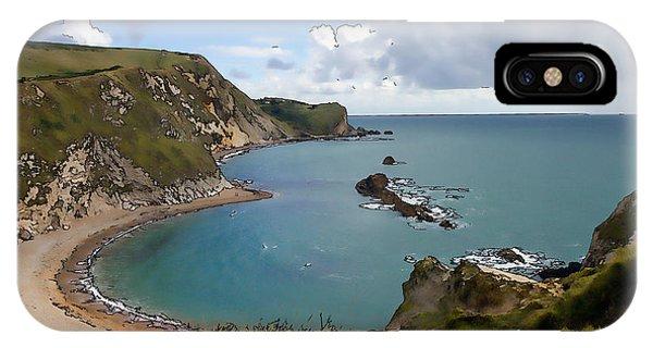 Dorset iPhone Case - St Oswalds Bay And Dorset Coast Next To Durdle Door England Uk Illustration Like Cartoon by Michael Charles