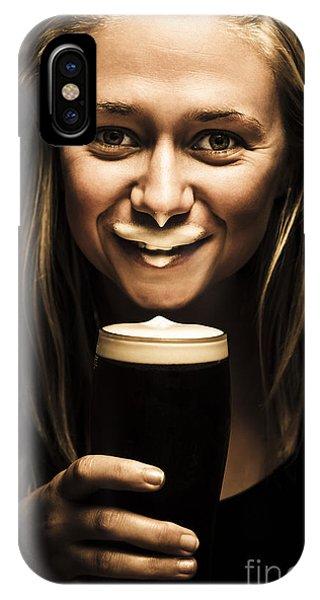 Moustache iPhone Case - St Patricks Day Woman Imitating An Irish Man by Jorgo Photography - Wall Art Gallery