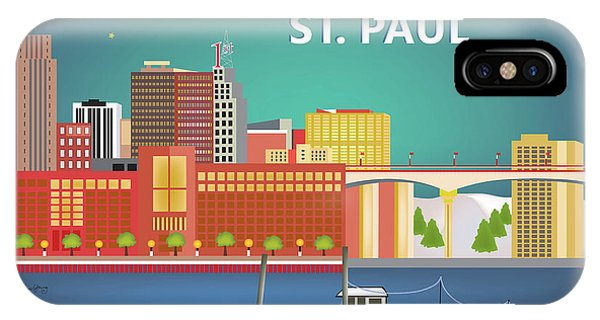 Mississippi River iPhone Case - St. Paul Minnesota Horizontal Skyline by Karen Young