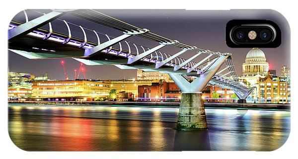 St Paul's Cathedral During Night From The Millennium Bridge Over River Thames, London, United Kingdom. IPhone Case