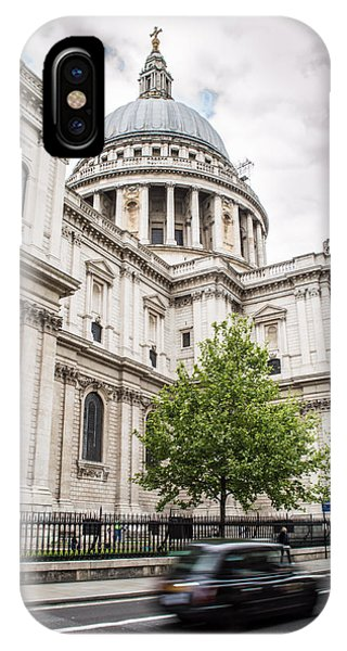 St Pauls Cathedral With Black Taxi IPhone Case