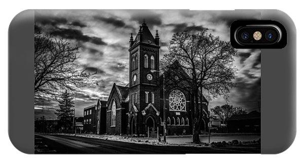 St Pauls United Church Milton  Black And White IPhone Case