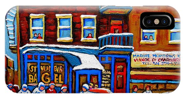 St Viateur Bagel With Hockey Montreal Winter Street Scene IPhone Case