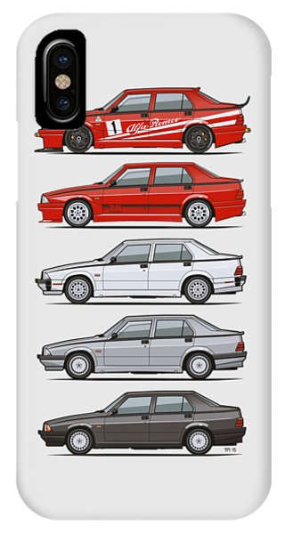 Technical iPhone Case - Stack Of Alfa Romeo 75 Tipo 161, 162b Milanos  by Monkey Crisis On Mars