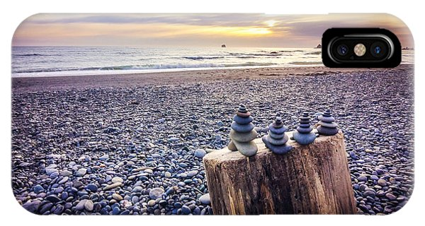 Beach iPhone Case - Stacked Rocks At Sunset by Joan McCool
