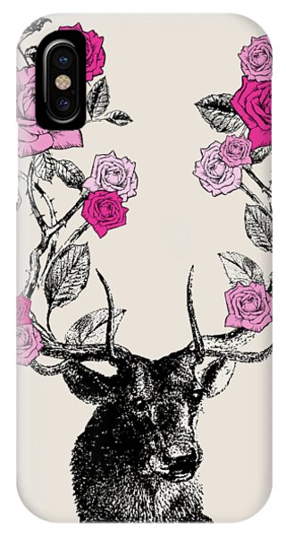 Vintage iPhone Case - Stag And Roses by Eclectic at HeART