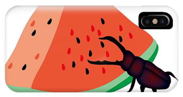 iPhone Case - Stag Beetle Is Eating A Piece Of Red Watermelon by Moto-hal