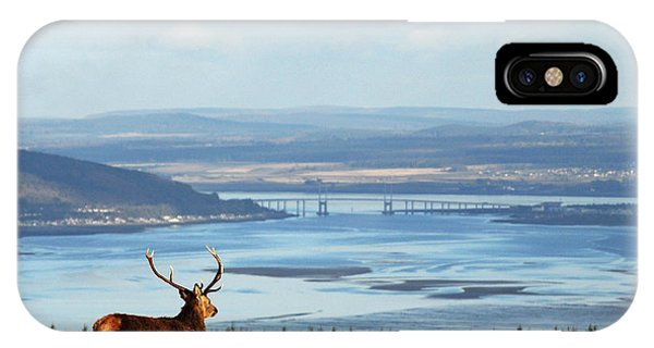 IPhone Case featuring the photograph Stag Overlooking The Beauly Firth And Inverness by Gavin Macrae