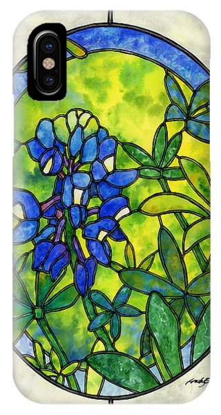 Glass iPhone Case - Stained Glass Bluebonnet by Hailey E Herrera