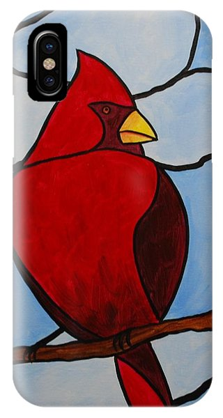 Stained Glass Cardinal IPhone Case