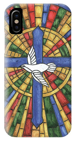 Dove iPhone Case - Stained Glass Cross by Debbie DeWitt