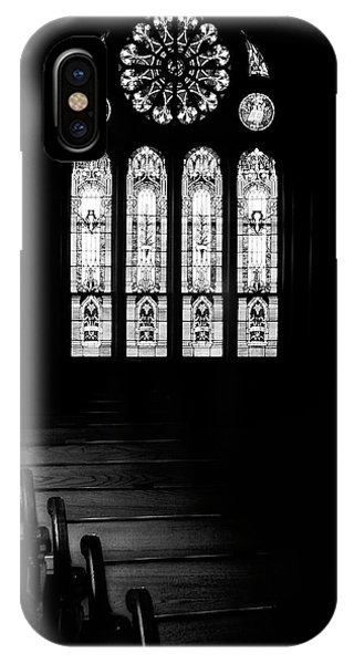 Chapel iPhone Case - Stained Glass In Black And White by Tom Mc Nemar
