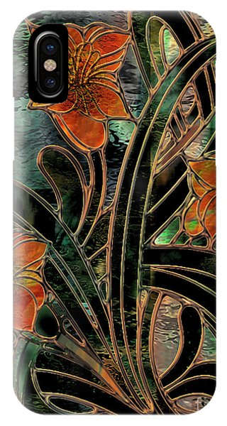 Amaryllis iPhone Case - Stained Glass Parabolas by Mindy Sommers