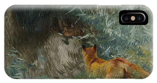Swedish Painters iPhone Case - Stalking Fox by Bruno Liljefors