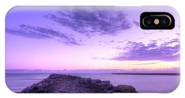 South Pacific Ocean iPhone Case - standing on South Jetty by Masako Metz