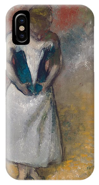 See iPhone Case - Standing Woman Seen From The Front, Clasping Her Corset by Edgar Degas