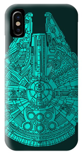 Star Wars Art - Millennium Falcon - Blue 02 IPhone Case