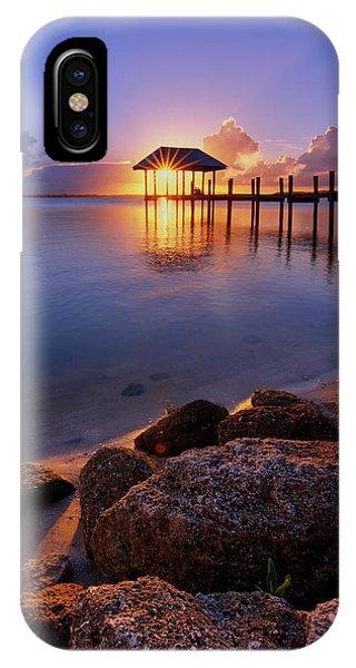 Starburst Sunset Over House Of Refuge Pier In Hutchinson Island At Jensen Beach, Fla IPhone Case