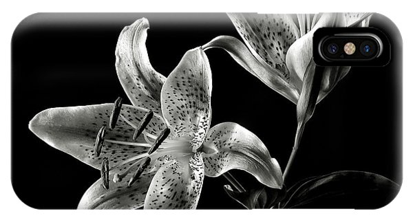 Stargazer Lily In Black And White IPhone Case