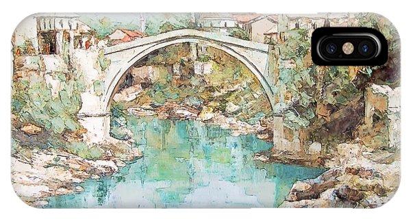 Stari Most Bridge Over The Neretva River In Mostar Bosnia Herzegovina IPhone Case