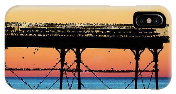 Starlings At Sunset In Aberystwyth IPhone Case