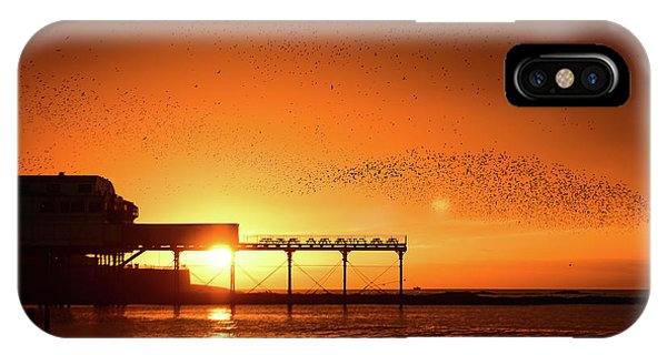Starlings At Sunset Over Aberystwyth Pier IPhone Case